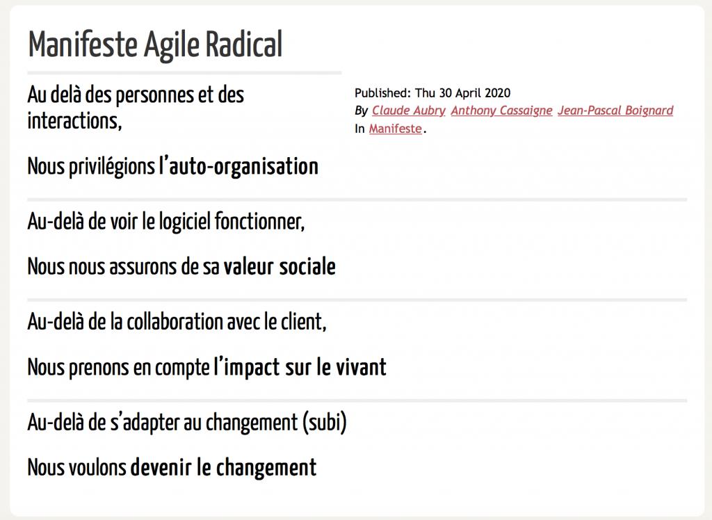 manifeste agile radical ligne